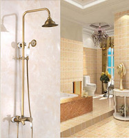 New Arrival Wall Mounted 8 In Antique Brass Shower Set Bathroom Single Handle Shower Faucet With