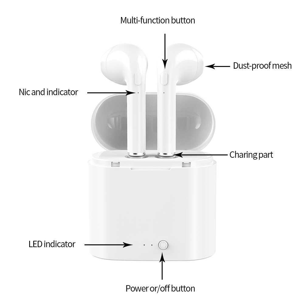Auriculares TWS i7s, inalámbricos por Bluetooth, Auriculares deportivos estéreo 3D con micrófono para Android y Iphone Xiaomi Mini con caja de carga