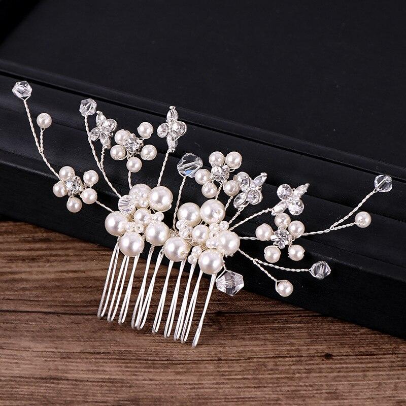 Silver Pearl Crystal Hair Combs (2)