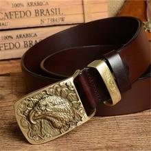 Eagle Buckle Mens Belts Luxury Men Belt Genuine Leather Cowboy Strap Ceinture Homme Cinturones Male Jeans