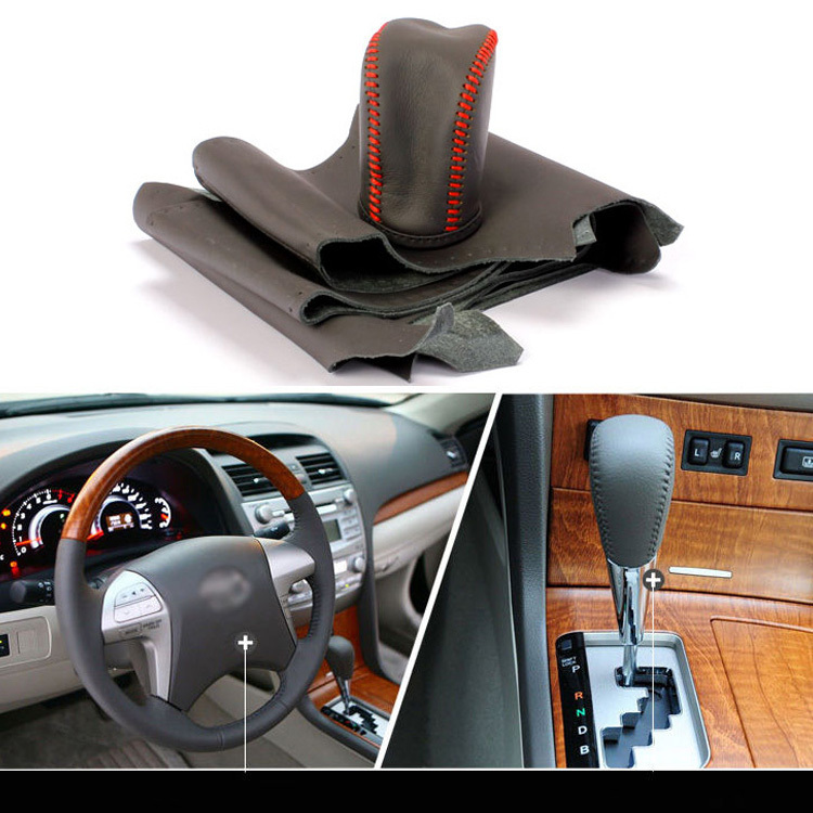 ФОТО Cowhide Sew-on Genuine Leather Steering Wheel Cover For Toyota Camry 10-11 AT
