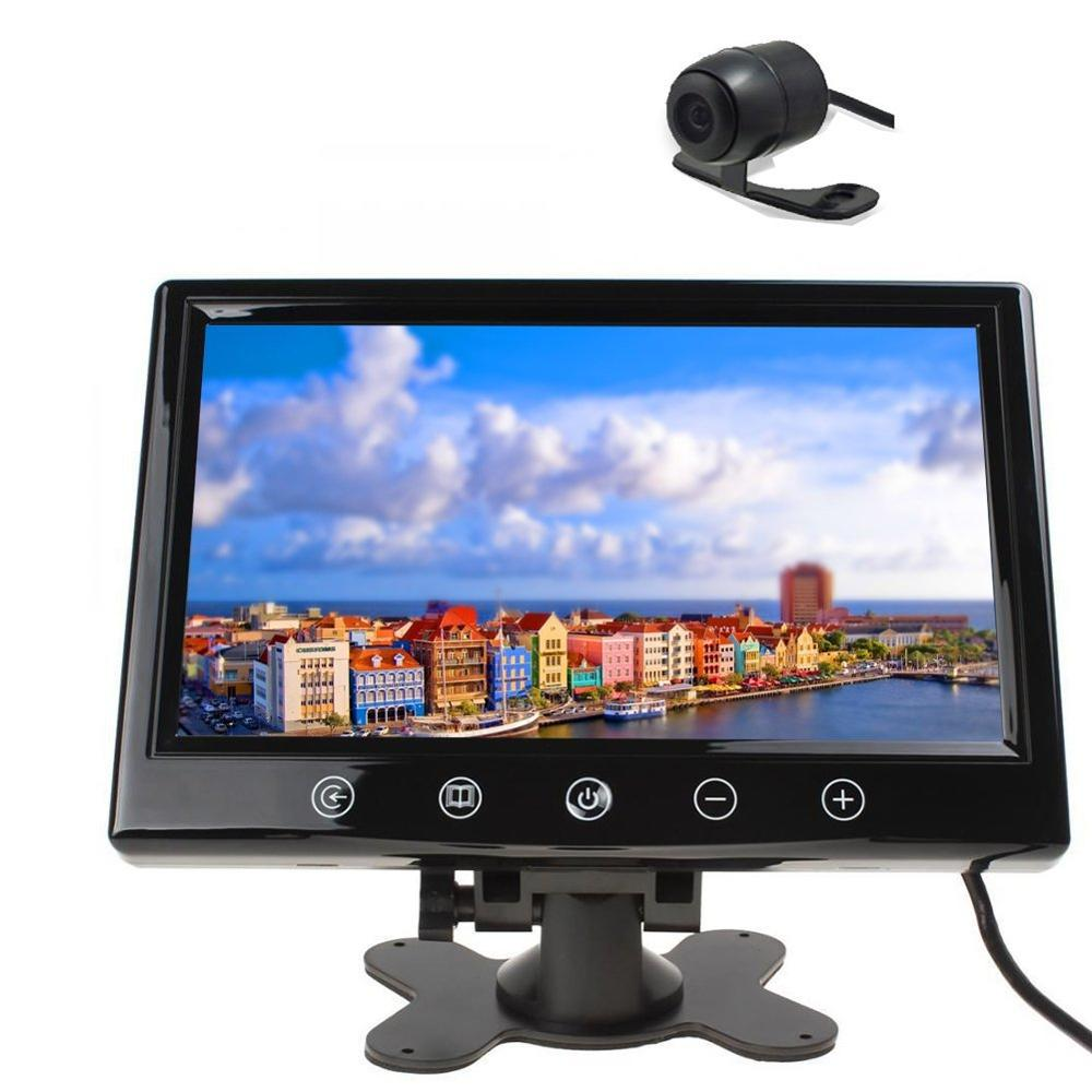 Universal Night Vision Rear View Reverse Backup Camera + 9 inch Color Monitor Touch screen with 2 Video Input Rear Car Monitor 7 inch monitor tft lcd 800 480 color 16 9 screen 2 way av video input for rear view backup reverse camera dvd vcd dc 12v