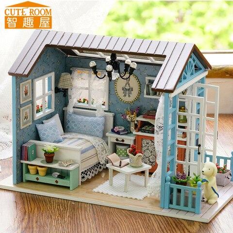 quarto bonito diy miniaturas casa de madeira