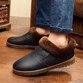 Zapatillas De Cuero masculinos 2017 de Invierno Nuevas Zapatillas de Casa de Alta Calidad de Los Hombres de Cuero Genuino Zapatillas Impermeables Zapatillas de Felpa Zapatos de Interior Calientes