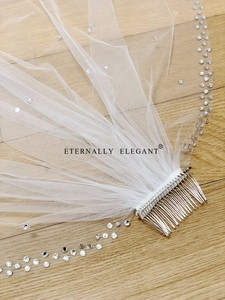 Image 5 - Voile De mariée, 2018, magnifique court, avec peigne, en dentelle, perlée, accessoires De mariage, blanc/ivoire, MD96