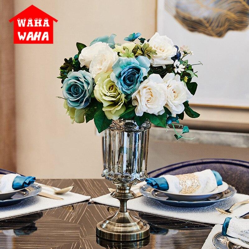 Vase en verre de gobelet en métal Transparent classique européen de porte-fleurs décoration de mariage décoration hydroponique