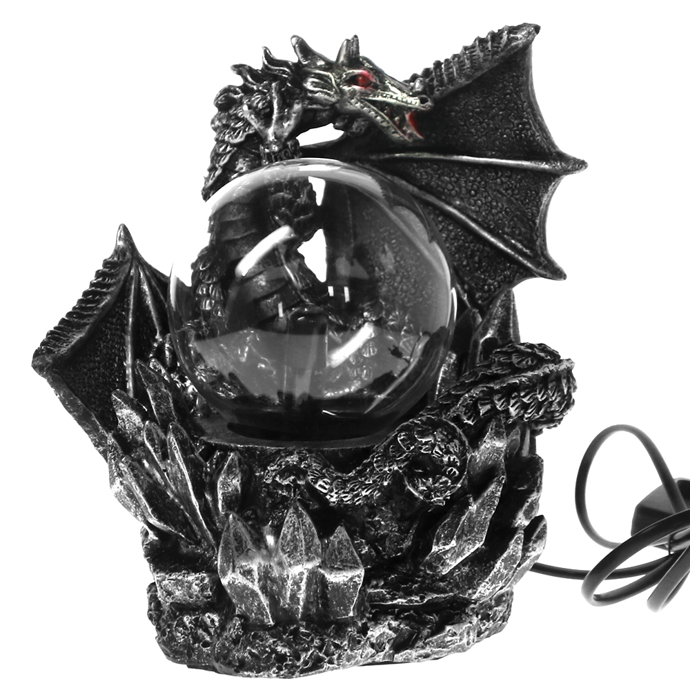 Medieval Dragon Resin Statue Dark Dragons Guardian Halloween Touch Responsive Electric Plasma Gazing Ball Gothic Orb Lighting