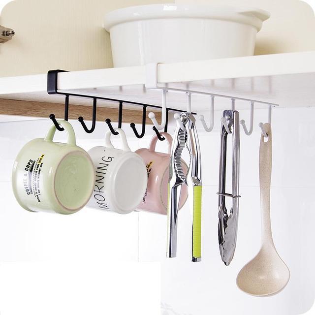 Kitchen Storage Rack Cupboard Hanging Coffee Cup Organizer Closet Clothes  Shelf Hanger Wardrobe Glass Mug Holder