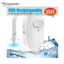 Rétro éclairage Rechargeable USB étanche pour toilettes, bol de toilettes avec capteur de mouvement 12 couleurs activées, veilleuse pour salle de bains