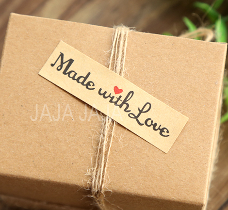 100pcs lot vintage made with love red heart sticker gift seal stickers for