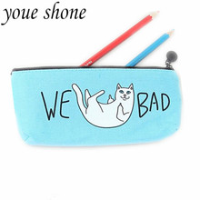 1pc/19.5*9cm Student Pencil Bag Large Capacity Canvas Fabric Cat Korean Stationery Case For Kids Gift for School Supplies