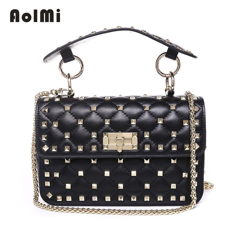 AolMi Rivet Tote Genuine Leather Messenger Bag Luxury Brand Women Bags Chain Small Flap Hand Bag Sheepskin Shoulder Bag bolsa luxury brand chains double flap bag 100% genuine leather sheepskin women classic shoulder bag handbag totes red black beige pink