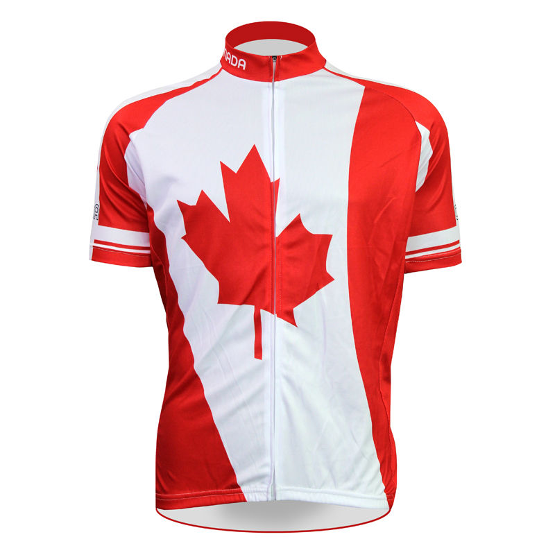 Cycling shirt bike equipment Canadian Maple Leaf Pattern Men Summer And Autumn Cycling Clothes lBreathable top Sleeve Riding App