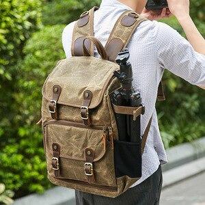 Image 1 - High Capacity Batik Canvas Fabric Photography Bag Outdoor Waterproof Camera Shoulders Backpack for Cannon/Nikon/Sony DSLR SLR