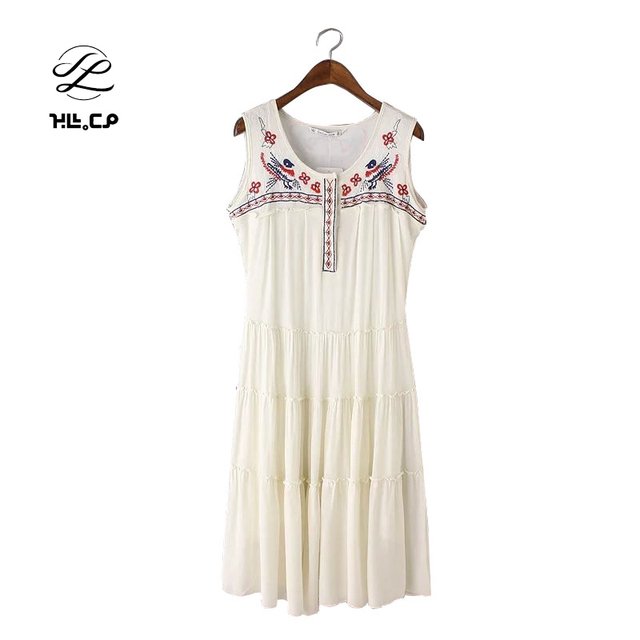 c8d175b5edc6 CP Japanese Fashion 2017 Women Floral Embroidery Mid-Calf Dresses White  Sleeveless O-Neck Vintage Summer Casual Vestidos