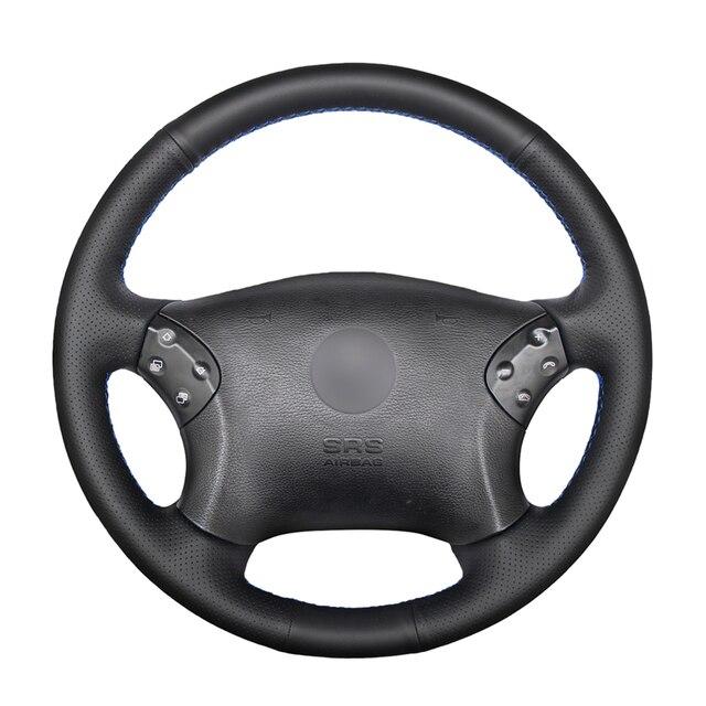 Сшитый вручную черный чехол рулевого колеса автомобиля из искусственной кожи для Mercedes Benz W203 C Class 2001 2007