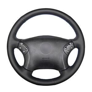 Image 1 - Cucito A mano Nero DELLUNITÀ di elaborazione Artificiale Volante In Pelle Auto Copertura Della Ruota per Mercedes Benz W203 C Classe 2001 2007