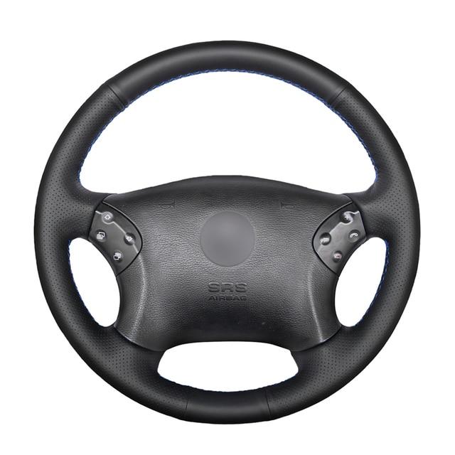 Cucito A mano Nero DELLUNITÀ di elaborazione Artificiale Volante In Pelle Auto Copertura Della Ruota per Mercedes Benz W203 C Classe 2001 2007