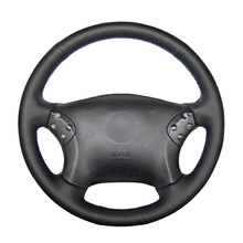 Hand stitched Black PU Artificial Leather Car Steering Wheel Cover for Mercedes Benz W203 C Class 2001 2007