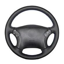 יד תפור שחור PU מלאכותי עור רכב הגה כיסוי עבור מרצדס בנץ W203 C class 2001 2007
