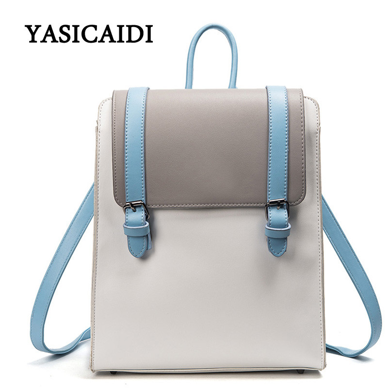 Women Backpack High Quality Pu Leather Mochila Solid Fashion School Bags for Girl Famous Designer Brand