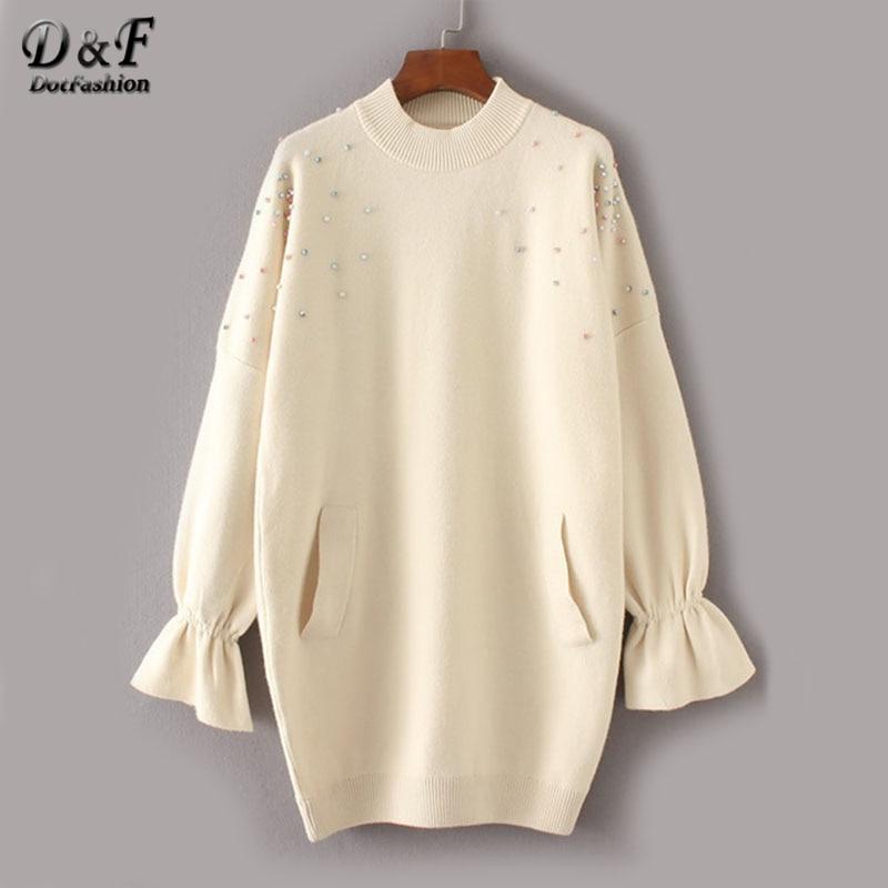 Dotfashion Beaded Detail Fluted Sleeve Winter Sweater Dress Woman 2017 Beige Bell Sleeve Long Sleeve Shift Short Dress