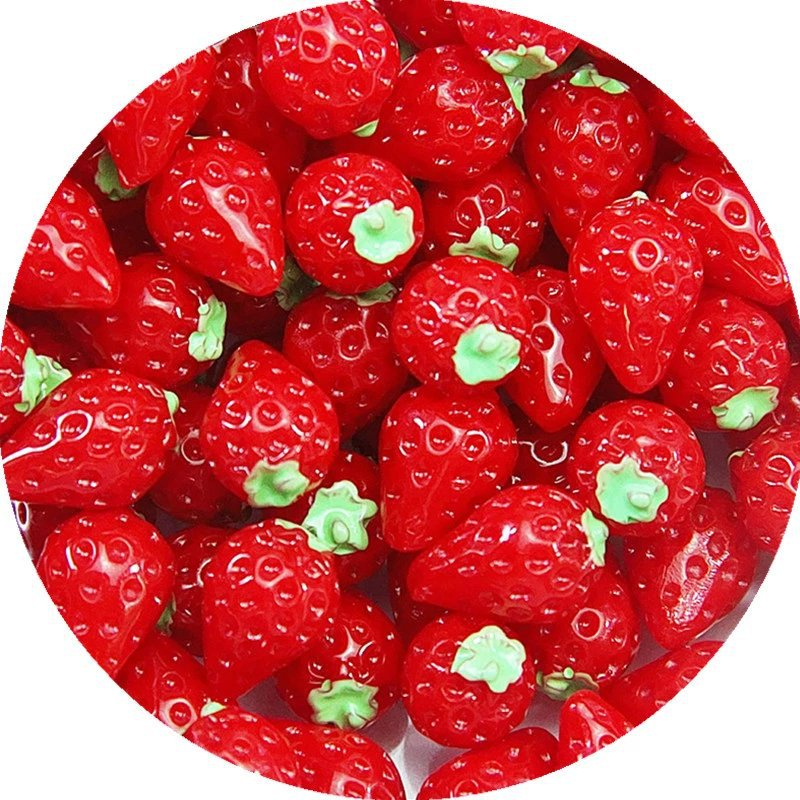 10Pcs Simulated Strawberry Filler Clear/Fluffy Mud Box Popular Children Toys Kids Lizun Slime DIY Kit Accessories Modeling Clay