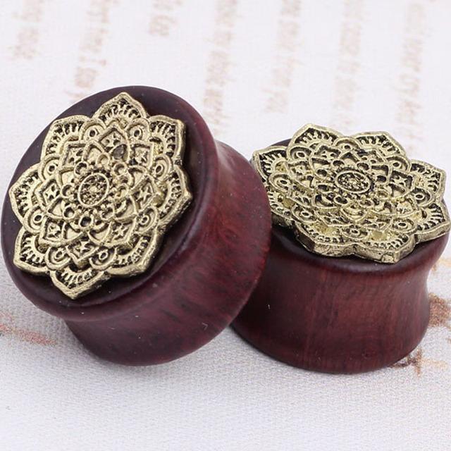 Mandala Flower Ear Plugs Tunnels Ear Expanders Earring Gauges Piercing