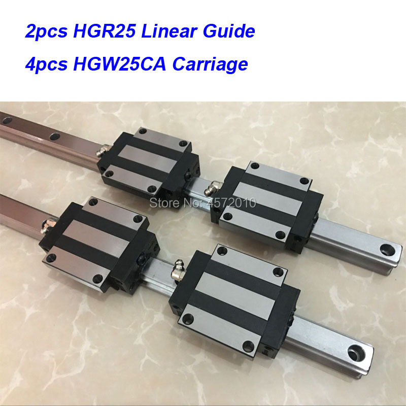 2 pcs HGR25 - 200mm 250mm 300mm 350mm 400mm 450mm 500mm linear guide rail with 4 pcs HGW25CA linear block carriage CNC parts2 pcs HGR25 - 200mm 250mm 300mm 350mm 400mm 450mm 500mm linear guide rail with 4 pcs HGW25CA linear block carriage CNC parts