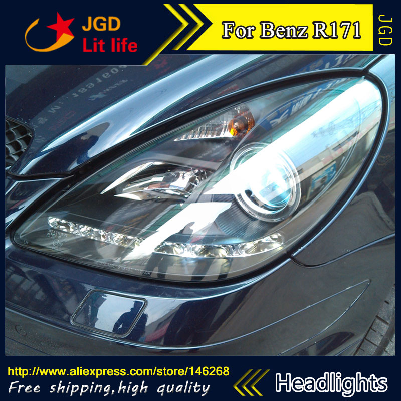 Free shipping ! Car styling LED HID Rio LED headlights Head Lamp case for Benz R171 Bi-Xenon Lens low beam free shipping 50w car lamps headlights 1 set h8 h9 h11 led headlights car 1set hot sale