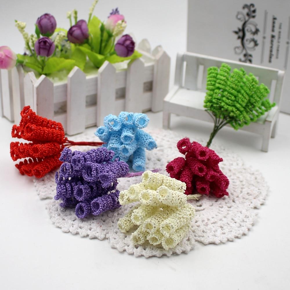 24 unids/lote 4 cm espuma estambre artificial rizado bacca para la boda diy cas