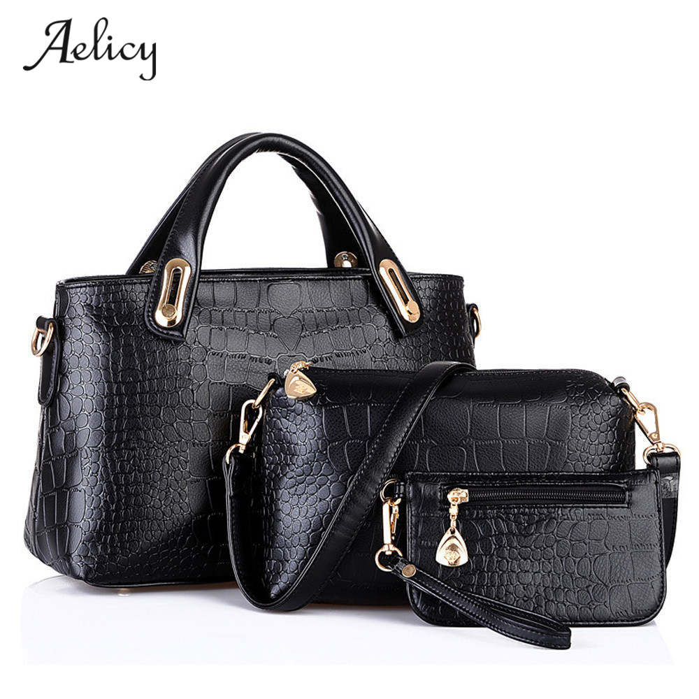 Aelicy 3 Sets Women Handbag Shoulder Bags Tote Purse Leather Ladies Brand Leather Messenger Hobo Bag Big Shoulder Bags bolsas  women handbag shoulder bags tote purse leather ladies messenger hobo bag hot new dropshipping fashion