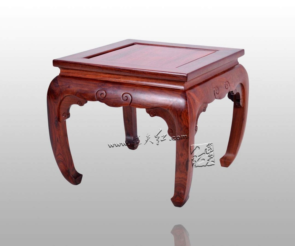 Chinese Antique Furniture Burmese Rosewood Square Bench Home Decoration Burma Rosewood stool small square wooden stool carved jade beads on the edge of the bench burma redwood classical furniture kids chair china rosewood