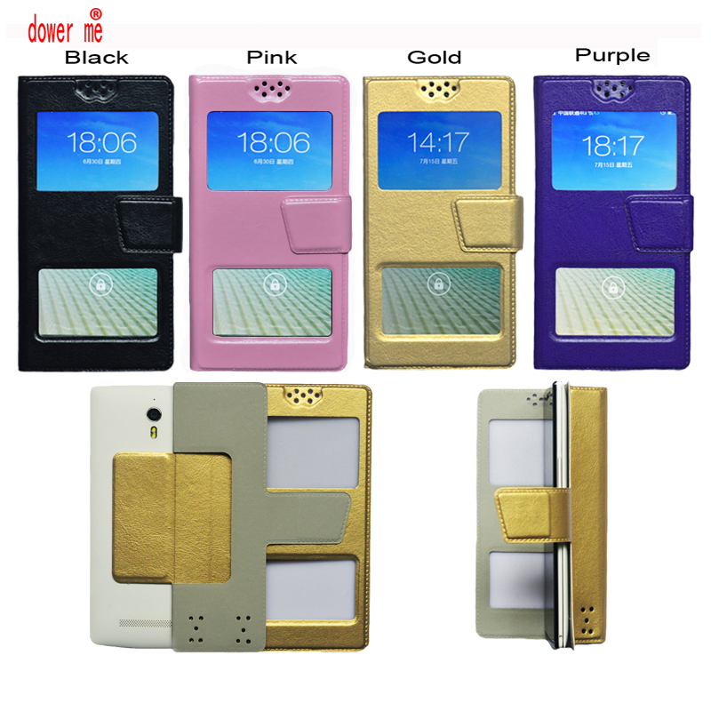 dower me Double window Universal Flip PU Leather Case Cover For Ginzzu S5002 Smart Phone In Stock N3