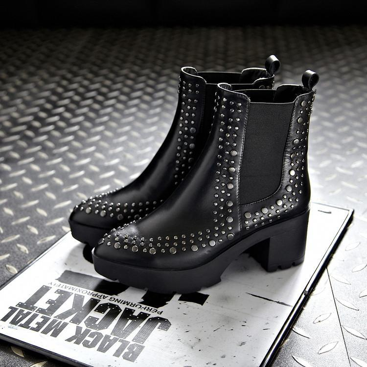 Talon Britannique Noir Femme Femmes Mujer Chaussures D'hiver Bottes Cuir Zapatos De Chelsea Rivets Bout Frais En Caoutchouc Pointu Style Moyen 1qgd17