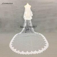 White/Ivory 1.5 M Cathedral Length Applique Edge Bridal Head Veil With Comb Long Wedding Veil Accessories velos de novia 2018