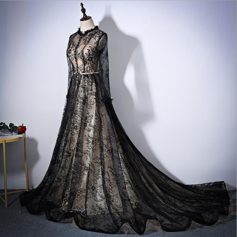 Black O Neck A Line Embroidery Lace sashes Long Luxury Evening Dresses Party Vestido De Festa Formal Gown Dresses with Train