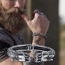 Schwere Edelstahl Drachen Kopf Manschette Armband für Männer Nomad Tribal Vintage Armreif Schmuck