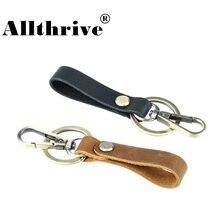 Nieuwe vintage handgemaakte lederen sleutelhanger sleutelhangers sleutelhangers voor mannen auto tas hanger bronskleur sleutelhangers mode-sieraden