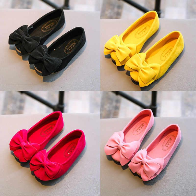 وصول جميلة الفتيات أحذية طفل الفتيات بلون قطيع عقدة الانزلاق على بقرة العضلات تسولي الأميرة أحذية القوس أحذية الرقص