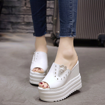 Women's Slippers 2019 Summer Super High Heels 13cm Roman Style Female Slipper Platform Shoes For Woman Summer Beach Slippers