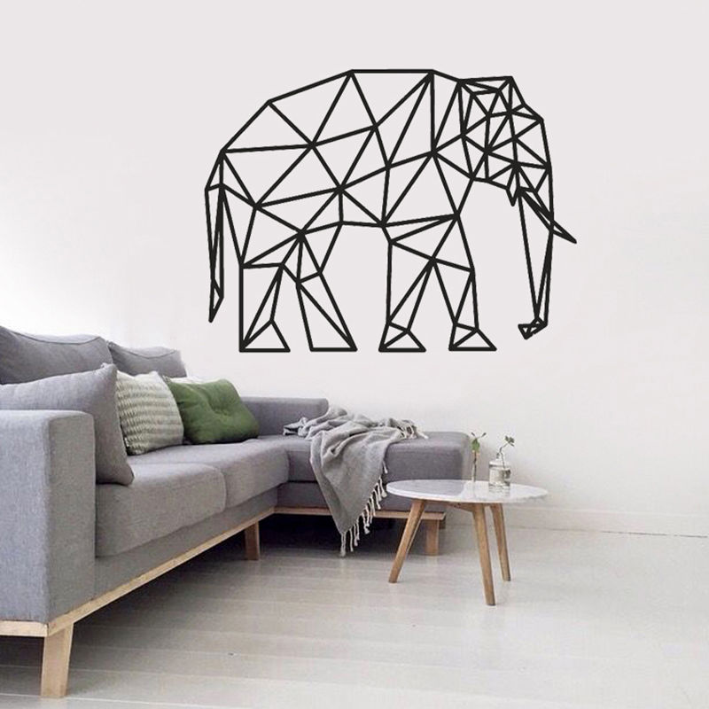 Vintage Geometric Long Nose Elephant Art Mural Wall Stickers Huge Animals Solid Outline Home Vinilos Decorativos Living Room Decal SYY
