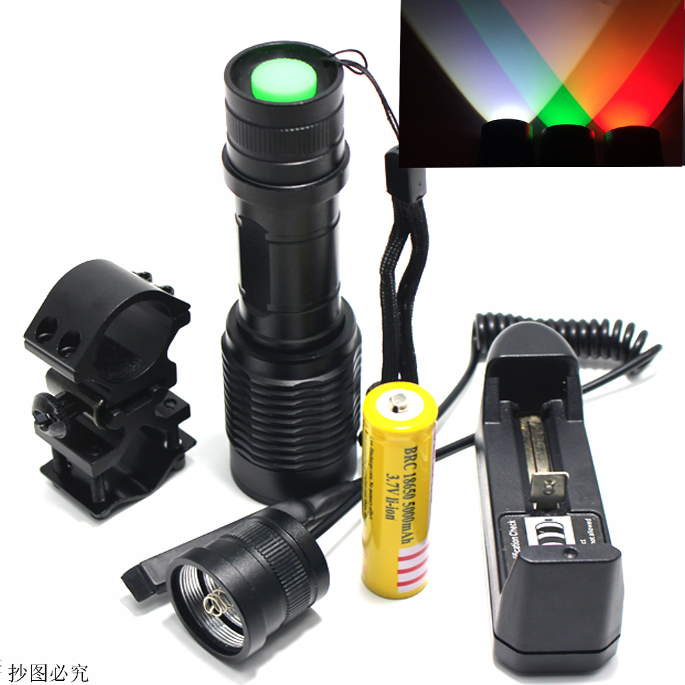 Zoom green/red 1 Mode Hunting led Flashlight LED Working Lamp Torch +18650 battery Charger+Gun mount+Remote Switch+ box powerful led flashlight 1503 cree q5 zoom 3 modes auminum alloy lantern white red green light charger gun mount rat tail