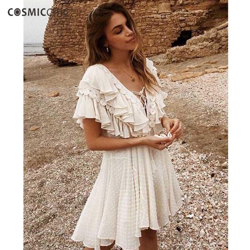 Cosmicchic летнее пляжное шифоновое платье с глубоким v образным вырезом рюшами Fringe Бандажное платье стекались точка дизайнерские платья 2018 выс