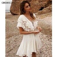 Cosmicchic Summer Beach Chiffon Dress Deep V Neck Ruffle Fringe Bandage Dress Flocked Dot Designer Dresses 2018 High Quality