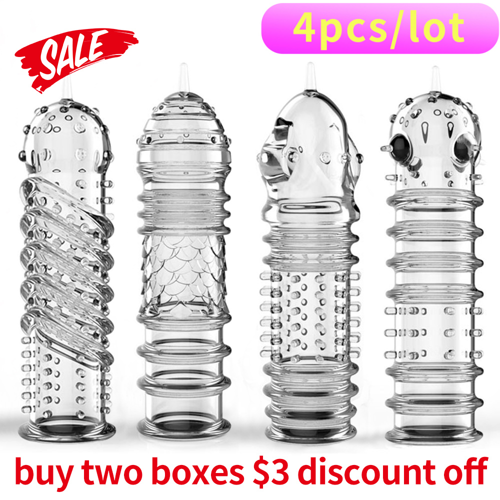 Buy Hanidoll 4pcs/ lot High Quality Crystal Cock Rings Adult Sex Reusable Condom Sexy Toys Penis Sleeves Penis Extension Cock Rings
