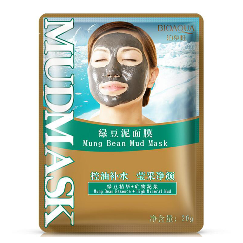 BIOAQUA Mung Bean Mud Mask Moisturizing Oil Controlling Face Mask Whitening Anti Wrinkle Anti Aging Face Skin Care