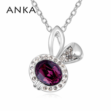 ANKA Rabbit Crystal Pendant Necklace for Women Gift Link Chain Jewelry Main Stone Crystals from Swarovski Rhodium plated #106471