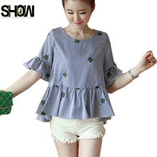 4 Colors Loose Tops New Hot Women Fashion Summer Flare Sleeve Casual Blouses Ladies Black Blue Floral Print Ruffled Peplum Top