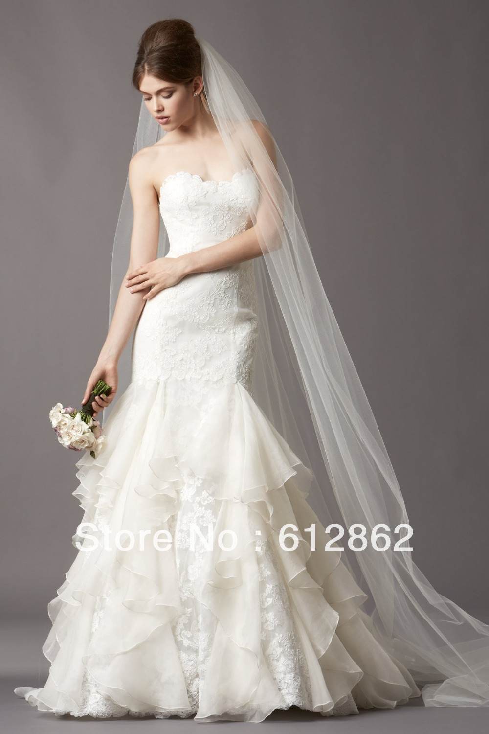Elegant Strapless Low Back Organza And Lace Long Tail Mermaid Wedding Dress In Dresses From Weddings Events On Aliexpress